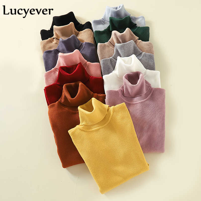 Lucyever Turtleneck Women Pullover Sweater Winter Jumper Knitted Basic Top Fashion Autumn Long Sleeve Korean Ladies Clothes 2019