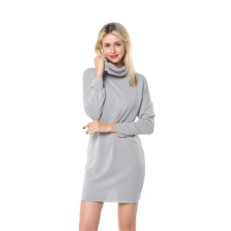 Autumn Winter Women Dress Casual Solid Loose Mini Dresses Sexy Fashion Turtleneck Long Sleeve Warm Sweater Dress