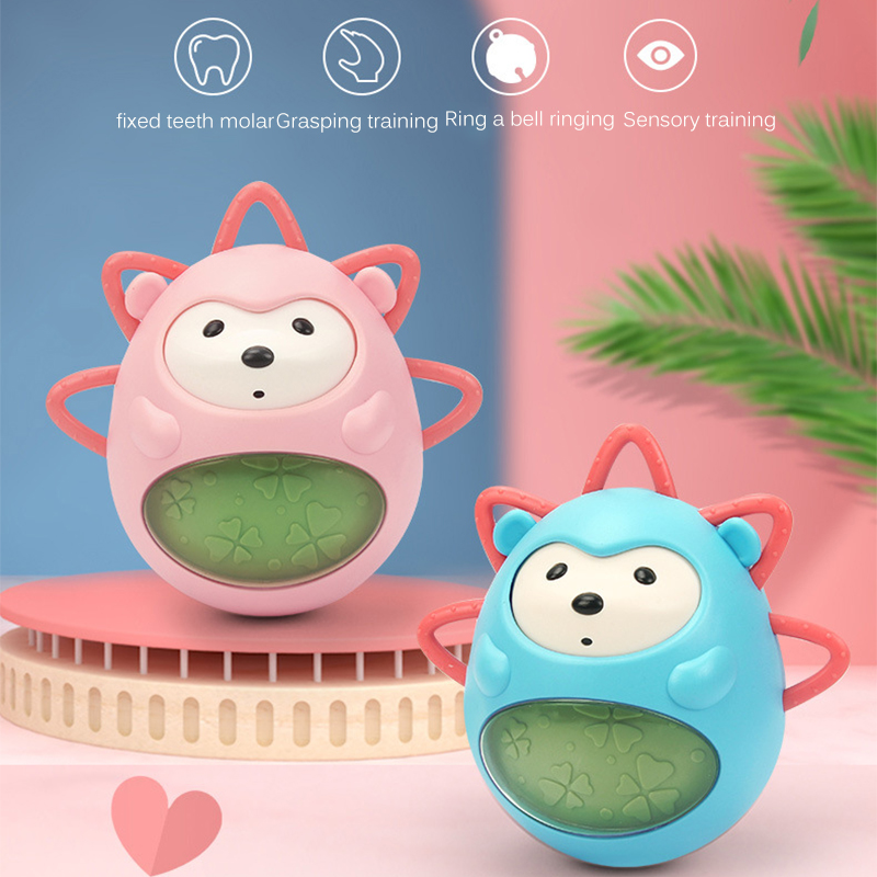 Teeth Protecting Music Tumbler Baby Teether Built-In Bells Unique Hand-Cranked Interactive Hedgehog Toy For Early Education