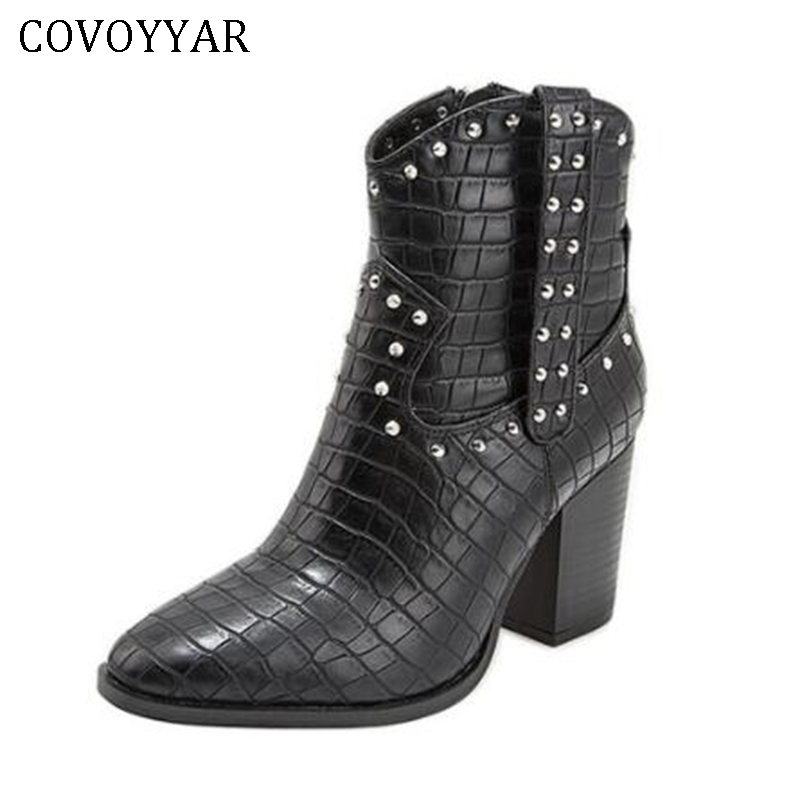 COVOYYAR 2019 Rivet Punk Women Boots Pointed Toe Thick Heel Ankle Western Boots Autumn Winter Shos Woman Big Size 43 WBS112