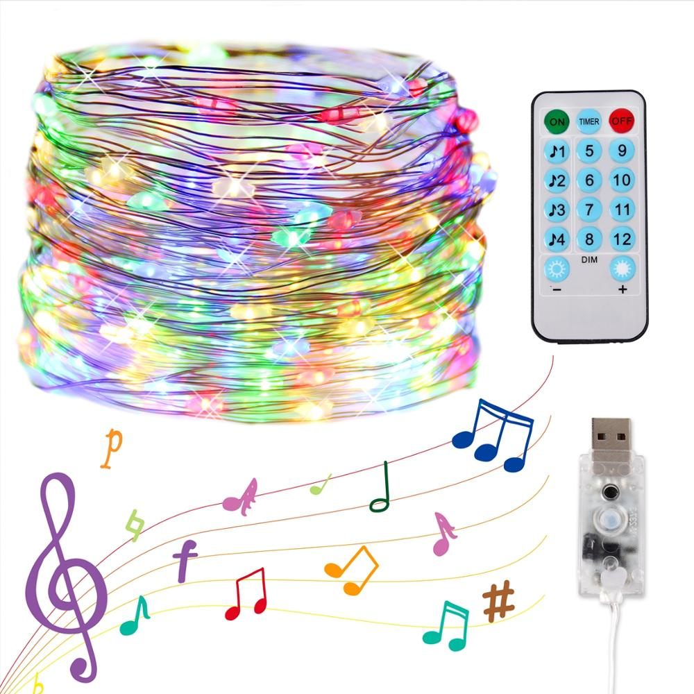 Permalink to 5M/10M USB Sound Activated LED Music Control String Light Garland Christmas Decor 8 Function Remote Control Holiday Lighting