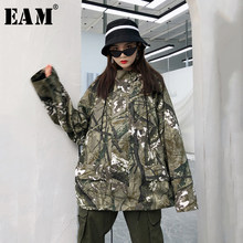 [EAM] Loose Fit Pockets Big Size Camouflage Jacket New Hooded Pocket Long Sleeve Women Coat Fashion Autumn Winter 2019 JZ139(China)