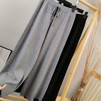 Otoño e Invierno nuevos pantalones de pierna ancha de punto para mujeres usan otoño salvaje casual suelto de punto de Cachemira pantalones de pierna ancha pantalones de fregado