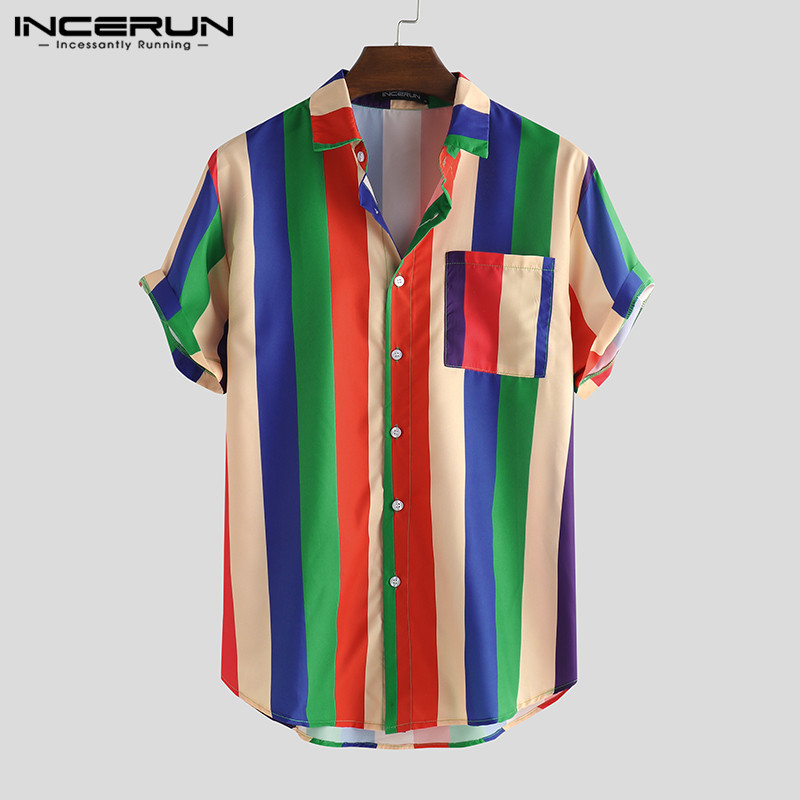 INCERUN Summer Colorful Striped Men Shirt Short Sleeve Lapel Streetwear Fashion Tops Casual Loose Hawaiian Beach Shirts 2020