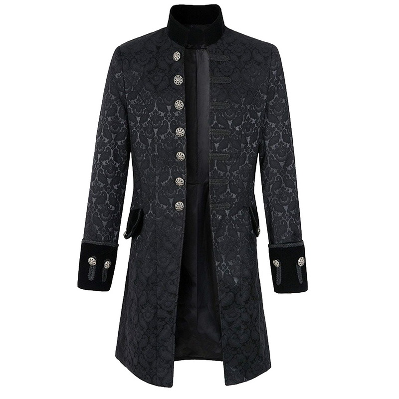 Coats Jacket Steampunk Men Stand Collar Slim Men's New-Fashion Tuxedo Long Veste Homme
