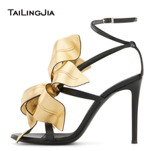 Gold Black Flower Womens Sandals 2020 Stiletto Heel Designer Shoes Womens Heels Summer Shoe Woman Luxury Heeled Strappy Sandal