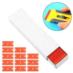 Image 4 - Window Glass Clean Scraper 100pcs Double Edged Plastic Razor Blade Car Wrap Sticker Squeegee Lable Clean Razor Glue Remover