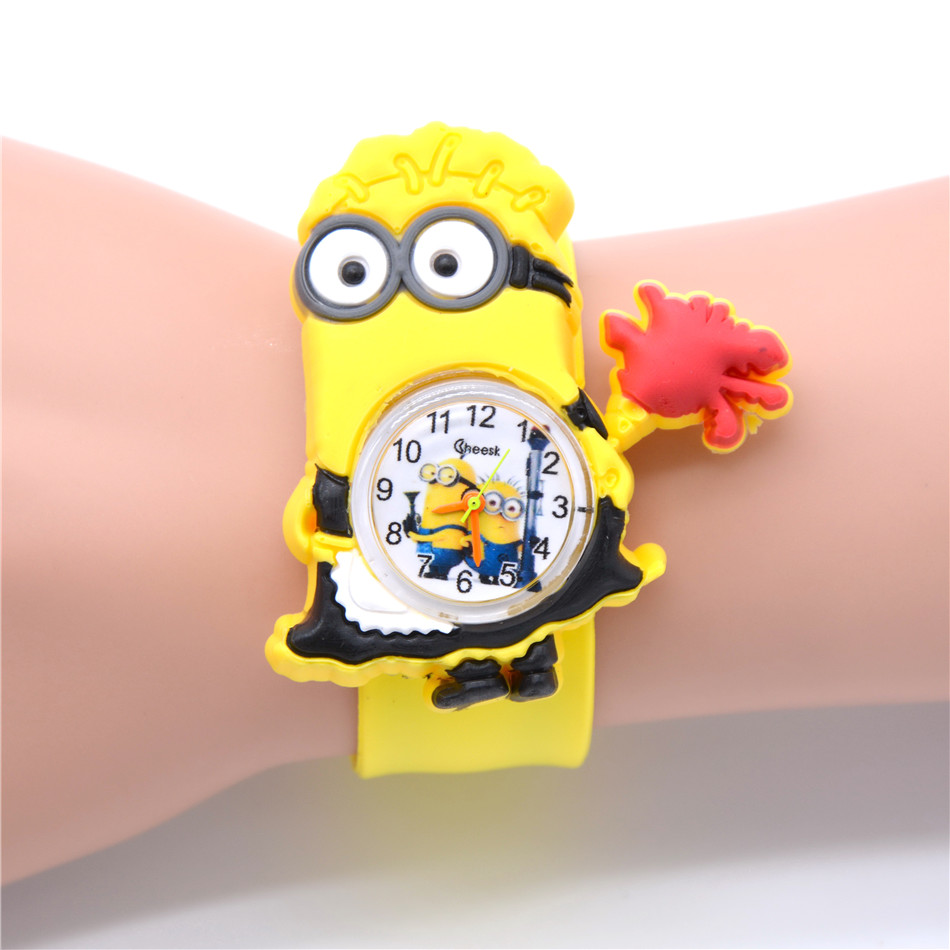 Cute Girls Watches 3D Eyes Maid Minion Design Watch For Kids Girl Young Child Infant Christmas New Year Gift