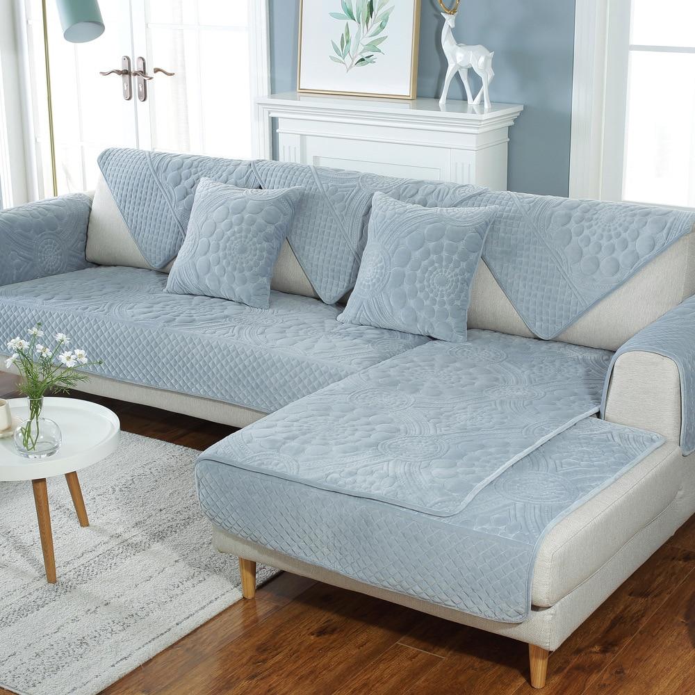 Modern Velvet Sofa Couch Cover Non Slip