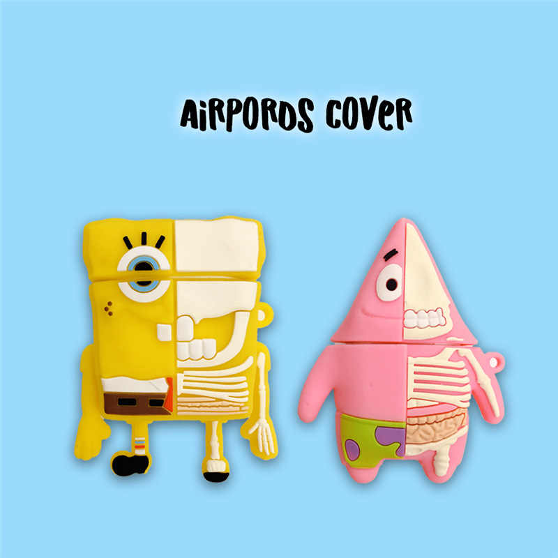 Cute Cartoon SpongeBob Patrick gwiazda silikonowe lalki etui do Apple Airpods bezprzewodowa Bluetooth słuchawki pokrywa kółko do kluczy