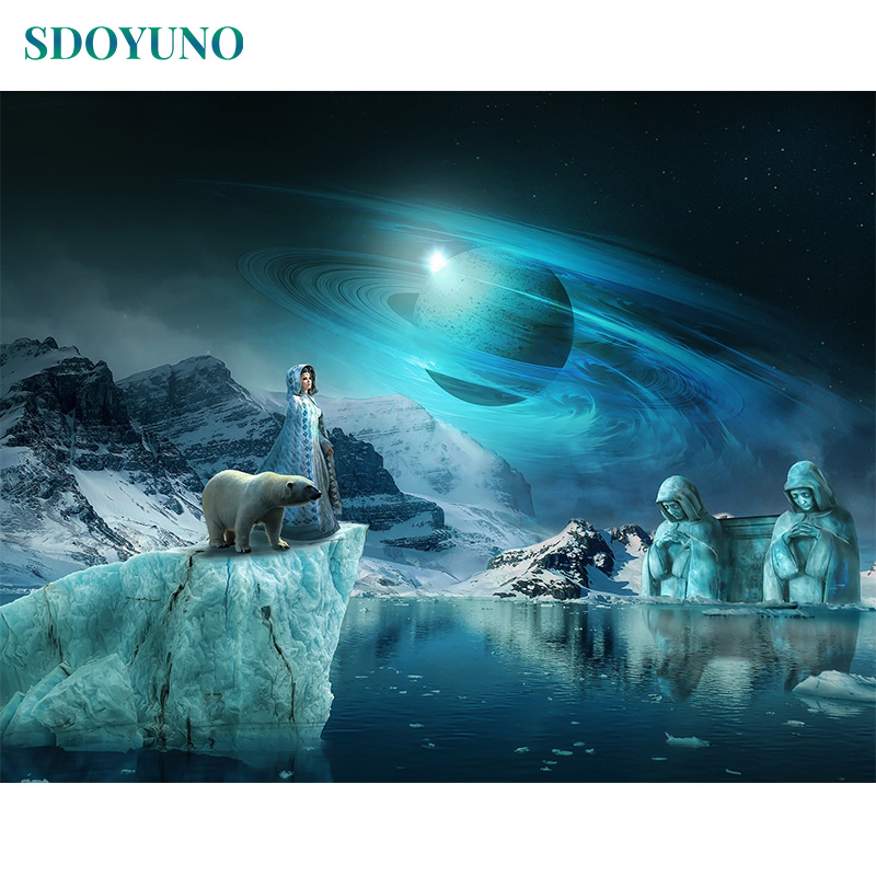SDOYUNO 60x75cm Painting By Numbers Wall Art Digital Painting Home Decor Frameless DIY Snow Pictures By Numbers On Canvas