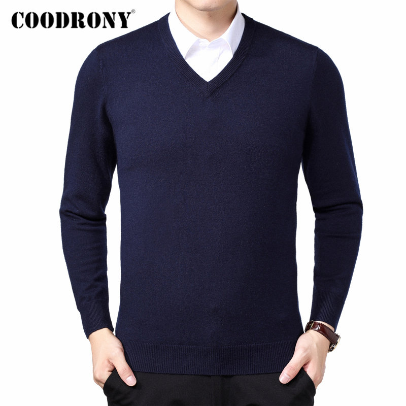 COODRONY Brand Sweater Men Autumn Winter Thick Warm Pull Homme Classic Casual V-Neck Pullover Men Cashmere Woolen Knitwear 91110