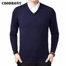 COODRONY marque Pull hommes automne hiver épais chaud Pull Homme classique décontracté col en v Pull hommes cachemire laine tricots 91110