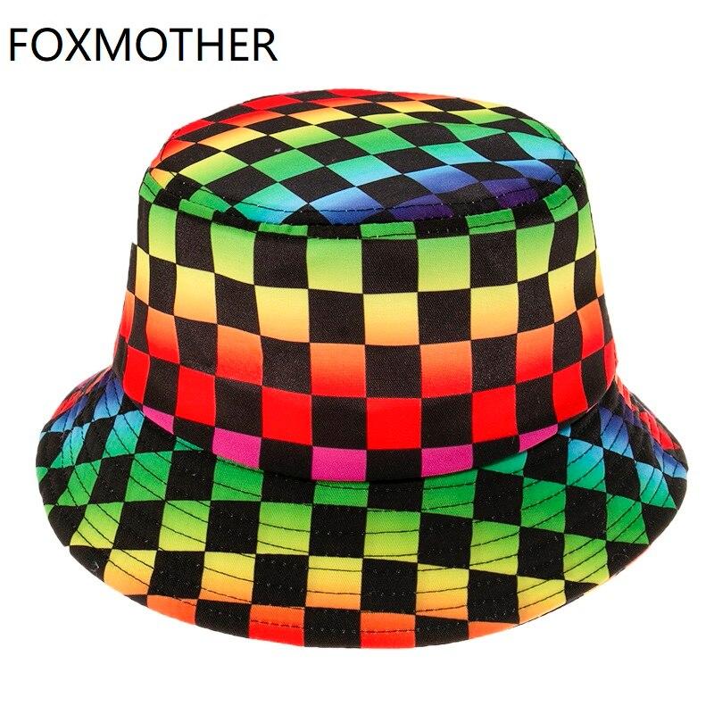 FOXMOTHER-Gorra estilo Panama con cuadros para hombre y mujer, Gorro de Arco iris Multicolor estilo Hip Hop, estilo Punk Bob