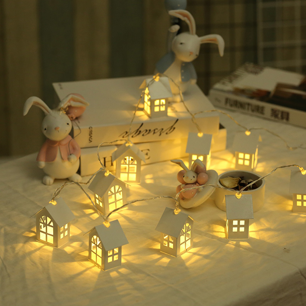 2m Wooden House String LED Room Decor String Lamp Christmas Party Holiday Decorative Fairy Lights Novelty Lamp Decoration