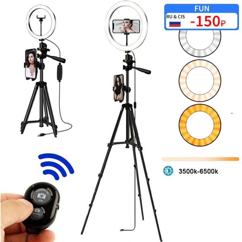 Selfie Ring Lamp Led Ring Light Selfie For Ring Phone Photography Lighting Camera Tripod Kit Photo Equipment Para Air Black