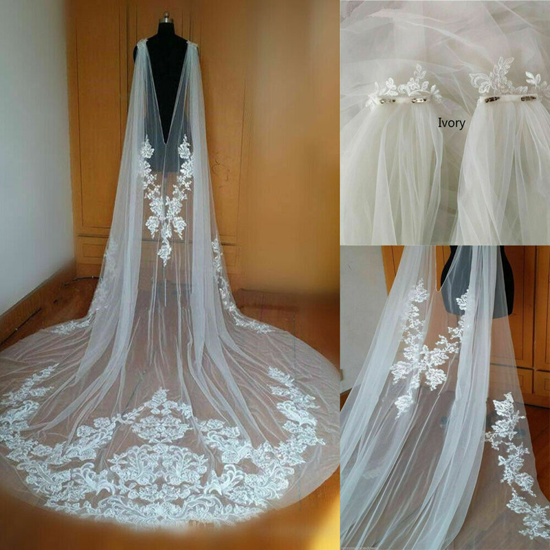 New Cathedral Length Wedding Cape Bridal Jacket Cloak 3M Long Lace Shoulder Veil Plus Size