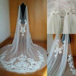 New Cathedral Length Wedding Cape Bridal Jacket Cloak 3M Long Lace Shoulder Veil Plus Size