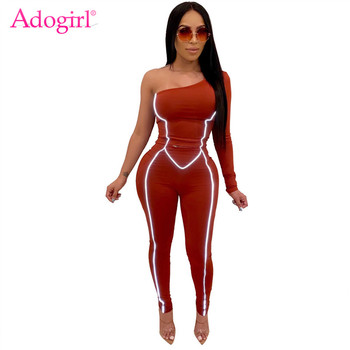 Adogirl Reflective Straps One Shoulder Bandage Jumpsuit Women Sexy Long Sleeve Skinny Romper Night Version Tracksuit Romper bardot flute sleeve florals romper