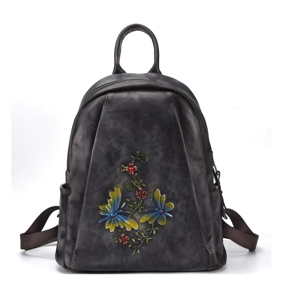 A la suerte de las mujeres de la marca Casual mochilas Vintage genuino cuero de vaca diario de las mujeres mochila de moda de viajes cosméticos-in Mochilas from Maletas y bolsas    2