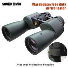 SCOKC Wide Angle Powerful  hd 10x50 binoculars for stargazing bak4 FMC power zoom long range telescope wide angle hunting
