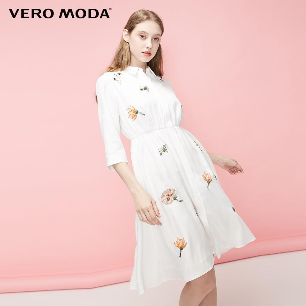 Vero Moda Women's Lyocell Embroidered Flowers High-rise Shirt Dress | 31927C523