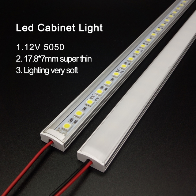 Keuken Licht Expert DC12V 5050 Led Harde Stijve Strip Bar + U Aluminium + Platte Cover Keuken Strip Licht 5pcs Milky 50 Cm