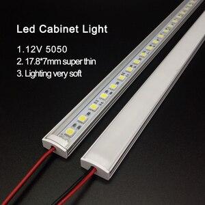 Image 1 - Luz de cozinha expert dc12v 5050 led barra tira rígida dura + u alumínio + cobertura plana cozinha tira luz 5 pçs leitoso 50 cm
