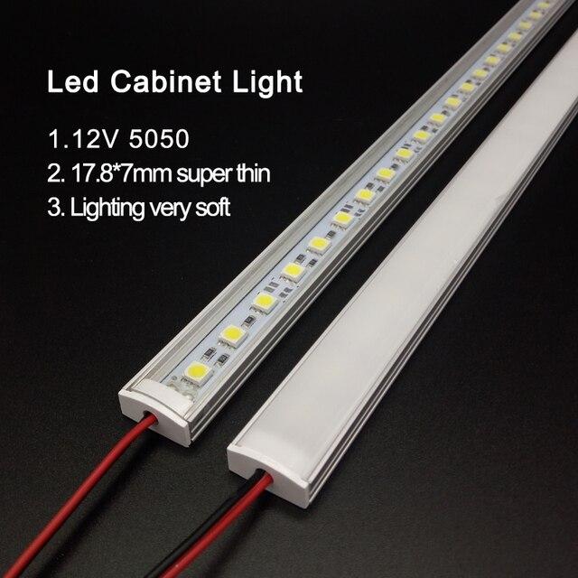 Luz de cozinha expert dc12v 5050 led barra tira rígida dura + u alumínio + cobertura plana cozinha tira luz 5 pçs leitoso 50 cm