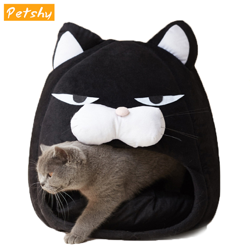 Petshy Cotton Cat Bed House For Cats Winter Warm Sleeping Mat Pad Puppy Cat Cage Cave Loungers Pet Dog Nest Kennel Cat Sofa Home