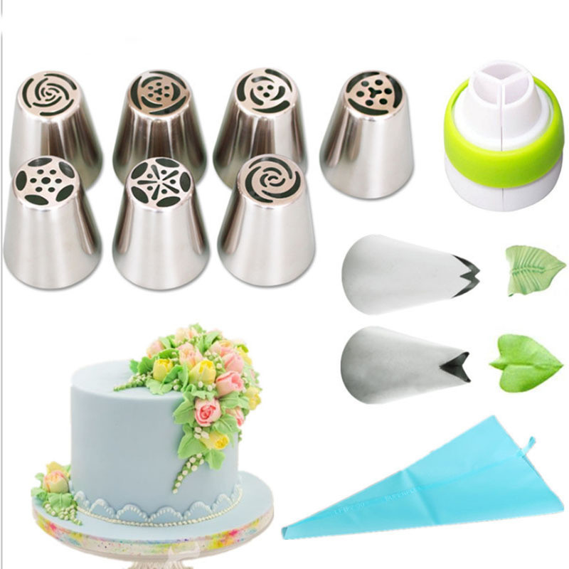 3-11PCS Russian Icing Piping Nozzles Tulip Stainless Steel Flower Cream cake Pastry Tips Leaf Nozzles Silicone Bag Cupcake DIY
