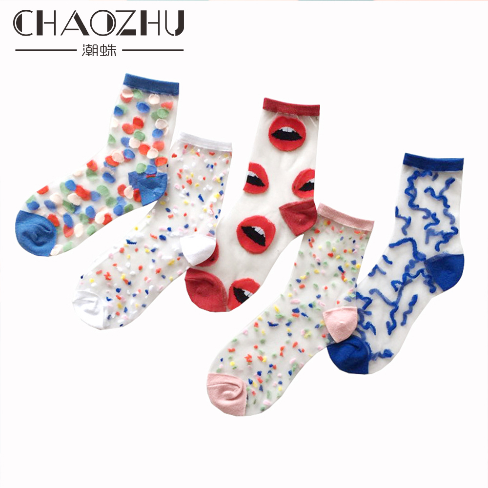 CHAOZHU 5 Pairs Young Girl Funny Cute Fashion Colorful Candy Dot Red Lips Wave Socks Sweet Women Thin Summer Ankle Crystal Sheer