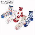 Носки CHAOZHU 5 пар для молодых девушек, милые модные цветные носки в горошек, с волнистыми красными губами, милые тонкие летние прозрачные до щи...