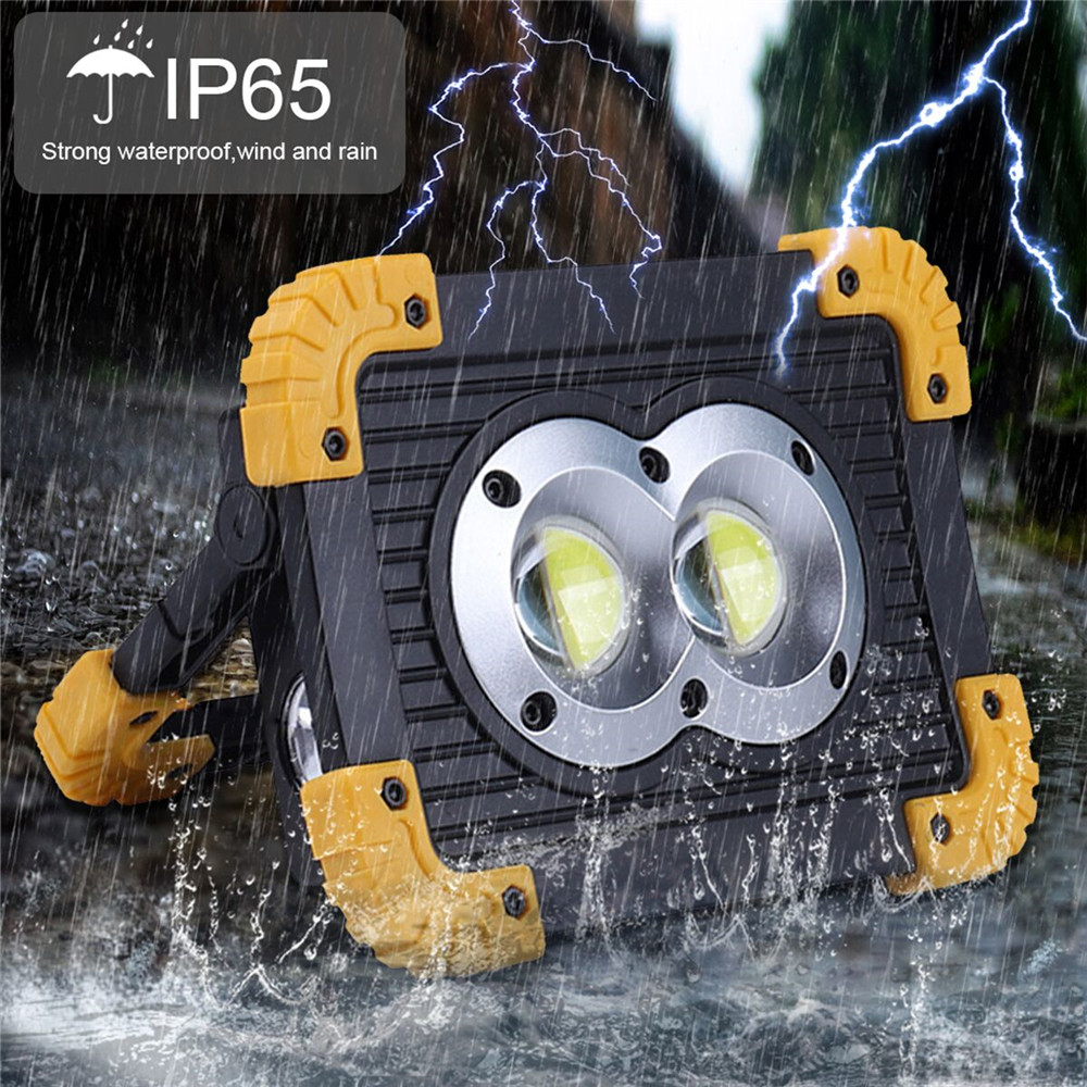 100W Rechargeable LED Work Lights,4000 Lumens Waterproof Led Flood Light,with USB Port To Charge Mobile Devices(Round Cob)