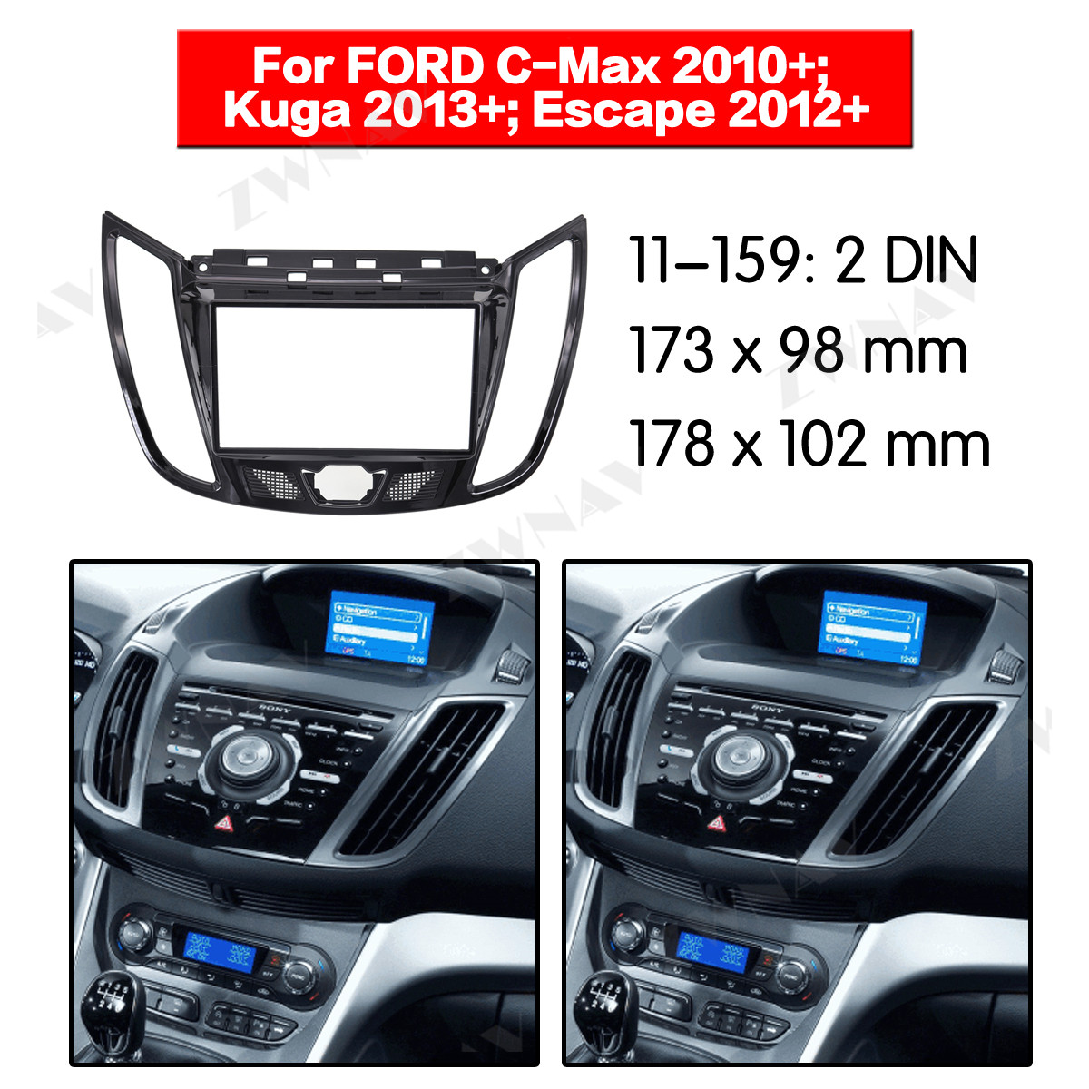 Radio para salpicadero para FORD C MAX 2010 +/Kuga 2013 (UV negro), soporte 2DIN, reproductor de dvd, Fascia, Radio Estéreo, Instalación en tablero
