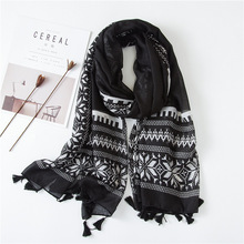 Black white Floral Pattern Scarf Ladies Warm Fashion Shawl Travel Beach scarf women in Autumn stylish stripes pattern black and white voile bib scarf for women