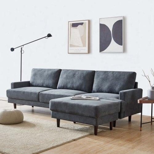 Modern fabric sofa L shape, 3 seater with ottoman-104 2