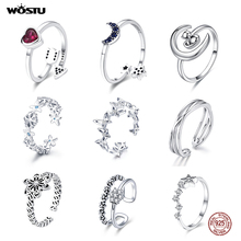 WOSTU Real 925 Sterling Silver Open Ring Finger Adjustable Size Wedding Rings For Women Engagement Fashion Silver Jewelry Gift