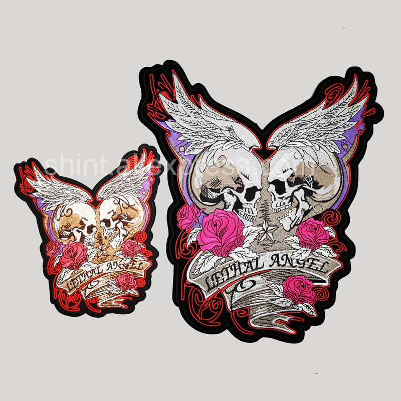 rose skull lethal <font><b>angel</b></font> large Embroidery <font><b>Patches</b></font> for Jacket Back vest <font><b>Biker</b></font> accessories iron on image