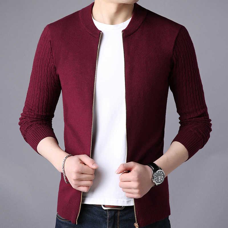 Kerah Berdiri Sweater Pria Jaket Padat Hitam Merah Grey Navy Blue Sweater Hangat untuk Sweatercoat Cardigan Pria Pakaian