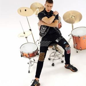 Image 3 - Sokotoo Mens rivets stars printed patchwork black jeans Trendy streetwear slim fit stretch denim pencil pants Ripped trousers