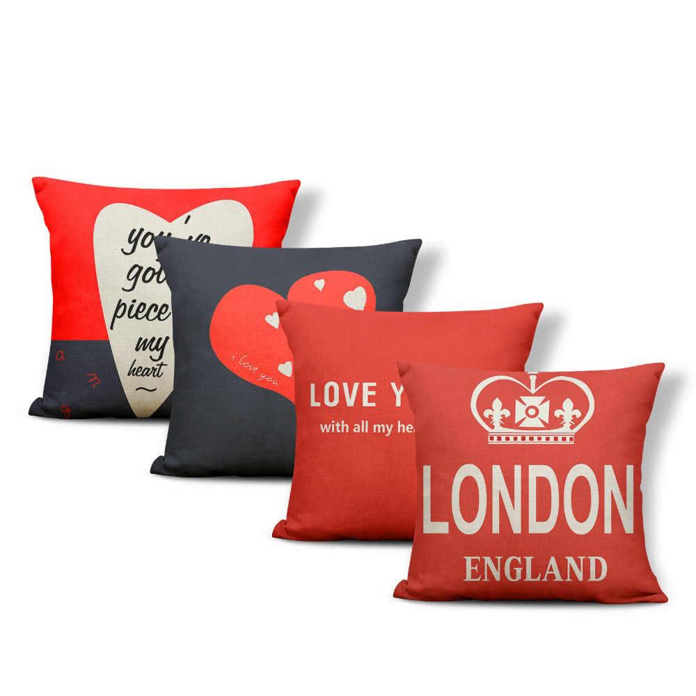Housse De Canapé Shabby Chic moderne luxe salon décoration de la maison polyester lin rouge housse de  coussin 45*45 cabine téléphonique carré canapé jeter taie d'oreiller