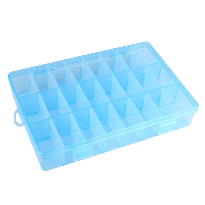 Adjustable 24 Plastic Compartment Jewelry Adjustable Dividers Organizer Storage Box Case Storing Earring Ring Bead Mini Goods