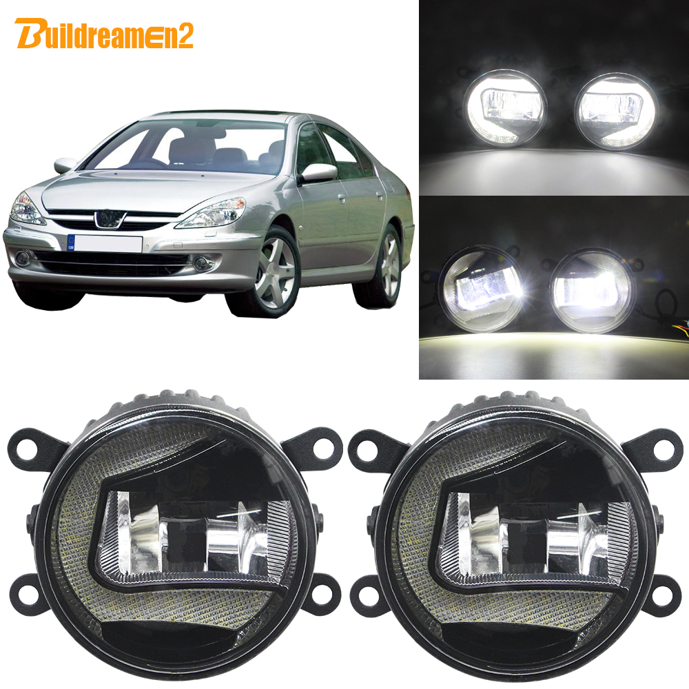 Buildreamen2 Car H11 Socket LED Projector Fog Lamp + Daytime Running Light 12V For 2000-2006 <font><b>Peugeot</b></font> <font><b>607</b></font> (9D, 9U) Saloon image
