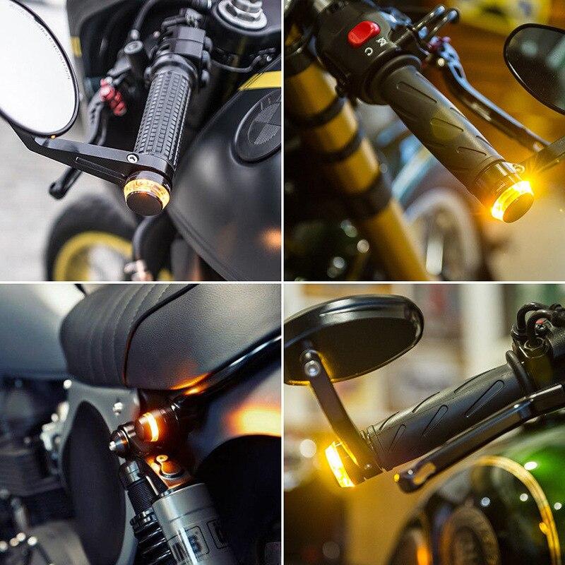 2pcs DC 12V Motorcycle LED Handlebar End Turn Signal Light White Yellow Flasher Handle Grip Bar Blinker Side Marker Lamp 5