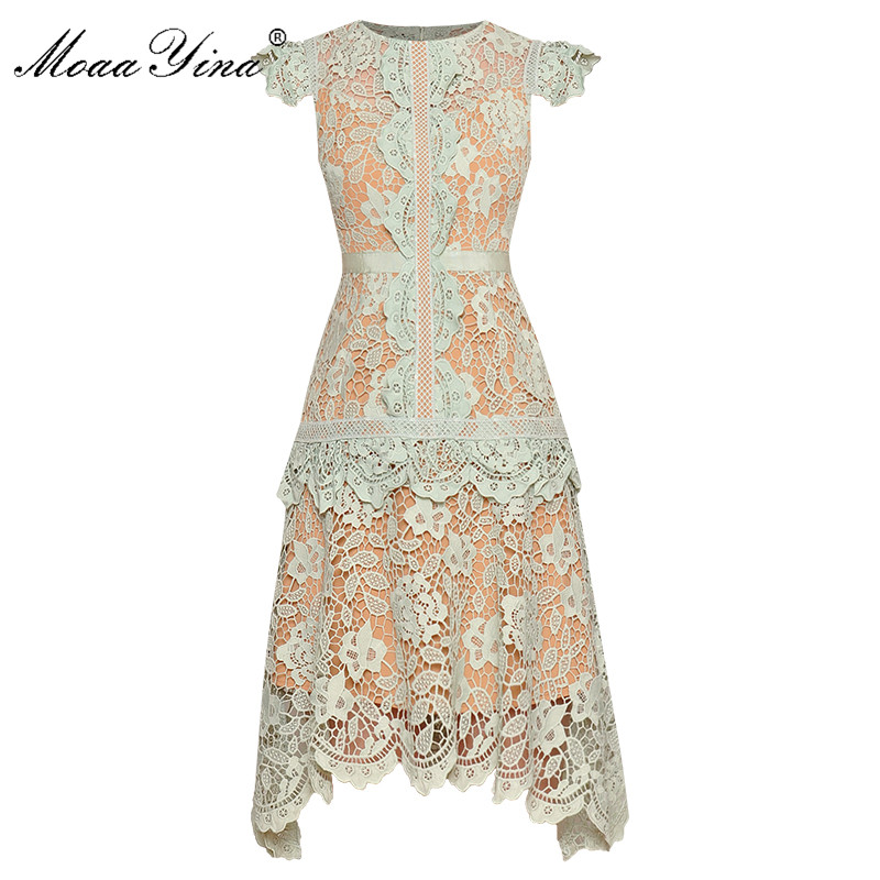 MoaaYina Fashion Designer dress Spring Summer Women's Dress Short sleeve Hollow Out Lace Asymmetrical Dresses