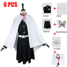 Kanao Tsuyuri Demone Slayer: kimetsu No Yaiba Cosplay Costume di Halloween Costumi di Canirval Mantello + Top + Skirt + Cintura + Copricapi + Parrucca(China)