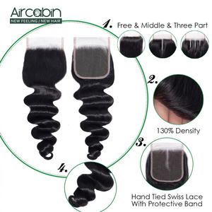 Image 3 - Aircabin Loose Deep Wave Bundles With Closure Brazilian 100 % Remy Human Hair Weave 3/4 Bundles Swiss Lace Closure Can Be Dye