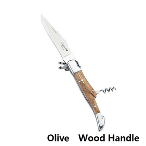 Image 5 - נירוסטה יין סכיני Laguiole חולץ פקקים בקבוק פותחני Porket סכין עץ ידית חתונה בירה יכול יין אביזרי מטבח