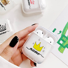 Hard Earphone Case For Apple Airpods Protective Cover  DIY Customized Crown Couple Clear Luxury Cases